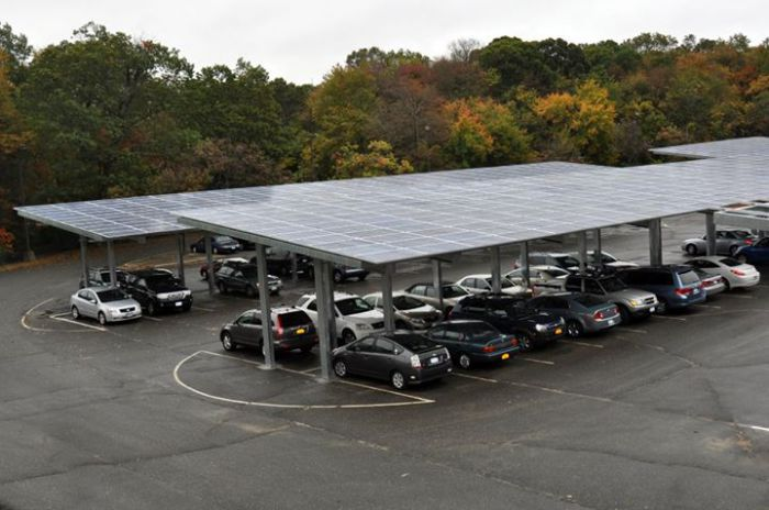 The solar carport at Suffolk County. Courtesy LIPA.
