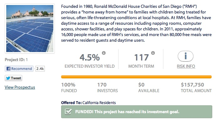 Mosaic's Ronald McDonald project funded just hours after offer made